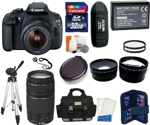 Canon Eos Rebel T5 Digital Camera Slr Kit With Canon Ef-S 18-55Mm Is Ii + Canon 75-300Mm Iii Lens + 32Gb Card And Reader + Camera And Lens Case + Spare Battery Pack + 2 58Mm Uv Filters + .45X Wide Angle Lens (58Mm) + 2.5X Telephoto Lens (58Mm) + Tripod +