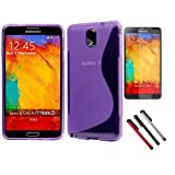 BoddBan Purple Ultra Slim Protective Smart Book TPU Silicone Gel Case / Cover for Samsung Galaxy Note 3 N9000 GT-N9002 N9005 16GB 32GB + 3 pcs Capacitive Stylus Touch Screen Pen + Screen Protector (Note 3 TPU Case + 3 pieces Stylus Pen + Screen Protector