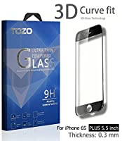 iPhone 6S Plus 3D Screen Protector Glass , TOZO Full Screen Frame Cover [3D Touch Compatible] Premium Tempered Glass 9H Hardness 2.5D Edge Silk Print Super Clear Perfect Fit Screen [ 5.5 inch ] Black from TOZO