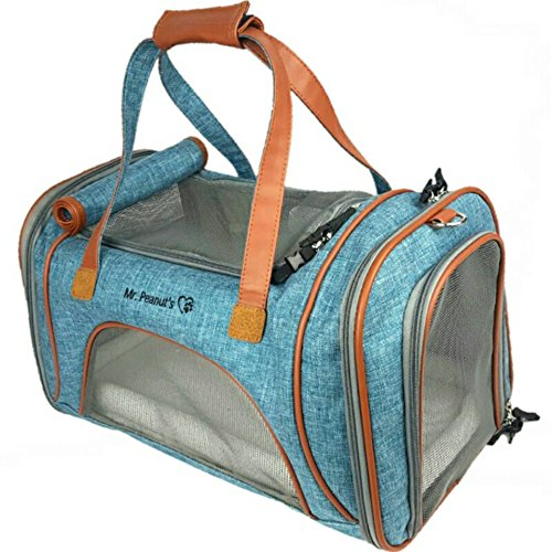 Mr-Peanuts-Airline-Approved-Soft-Sided-Pet-Carrier-Low-Profile-Luxury-Travel-Tote-with-Fleece-Bedding-Safety-Lock-Under-Seat-Collapsibility-Perfect-for-Cats-and-Small-Dogs