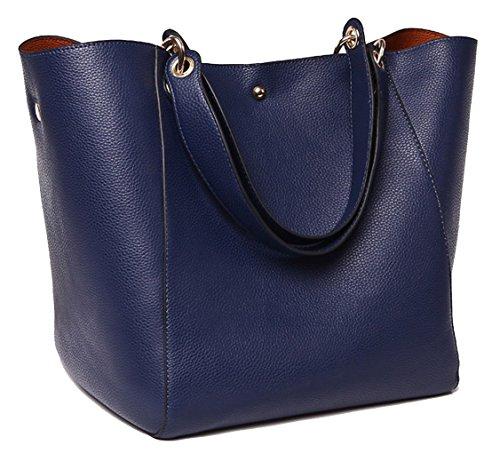 Tibes Moda spalla sacchetto impermeabile borsa del cuoio genuino Profondo blu