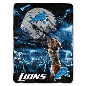 NFL Detroit Lions 60-Inch-by-80-Inch Plush Rachel Blanket, Sky Helmet Design by Northwest