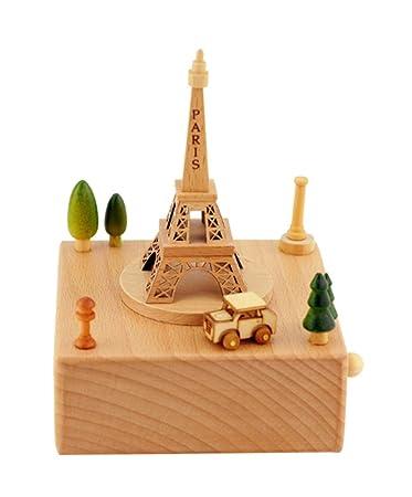 Boîte à musique de la Tour Eiffel Cadeau de décoration pour mariage d'anniversaire pour enfants