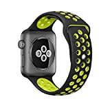 OULUOQI Soft Silicone Sports Replacement Band with Ventilation Holes for Apple Watch Nike+ and Apple Watch Series 1/2M/L Size (42mm – Black / Volt Yellow)