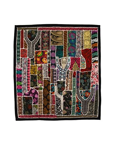 Uptown Down One-of-a-Kind Panel of Vintage Tribal Collars, Dark Multi