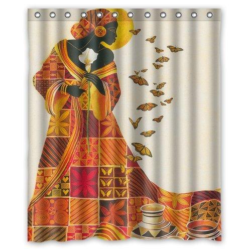 Custom Waterproof Bathroom African Woman Shower Curtain