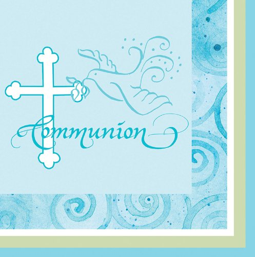 Creative Converting Faithful Dove Cross Communion Beverage Napkins, Blue, 16 Count