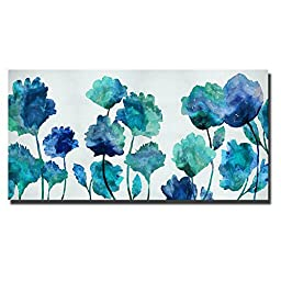 Aqua Blossom by Vanessa Austin Oversize Custom Gallery-Wrapped Canvas Giclee Art (Ready to Hang)