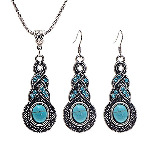 conteverr-attactive-jewellery-vintage-tibetan-turquoise-necklace-earrings-set-for-women-oval-shaped