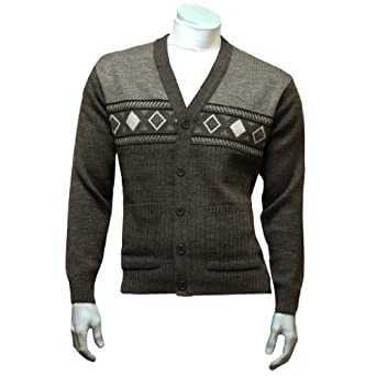 """Men's Patterned Button Front Cardigan - Brown (Large (42"""" chest))"""