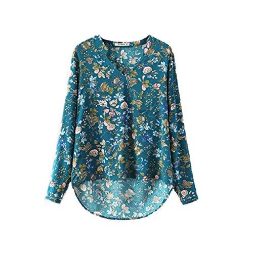 Aokdis Women Print V-Neck Blouse Long-Sleeve Top Shirt Lady Casual Shirt (Xl, Green)