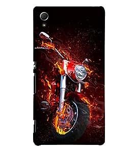 printtech Flaming Biking Back Case Cover for Sony Xperia Z3 Plus / Sony Xperia Z3+