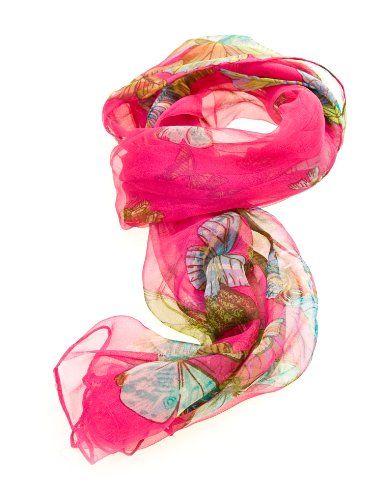 Women's Multi Function 100% Pure Silk Butterfly Scarf/Headwear/Tested by leading authority/Fuschia