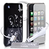 Apple iPhone 3 / 3G / 3GS Accessory Pack Designer Black And Silver Butterfly Flower Hard Hybrid IMD Case Cover With Car Charger Screen Protector And Grey Micro-Fibre Polishing Clothby Yousave