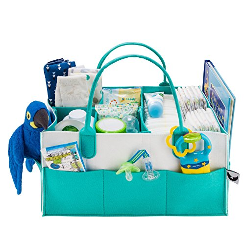 Baby Diaper Caddy Organizer - Gift Registry for Baby Shower Must Haves   Large Baby Essentials Organizer   Cute Basket for Baby Gifts for Newborn Boys Girls Twins   Versatile Stylish Design 4 Moms