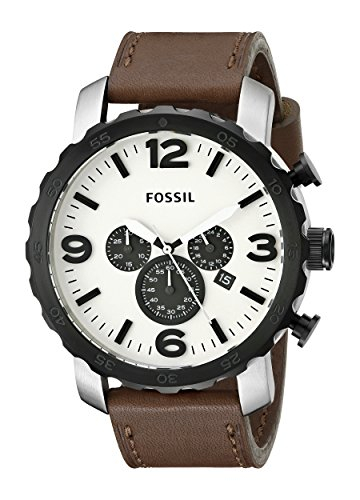 Fossil Men's Quartz Watch Nate JR1390 with Leather Strap