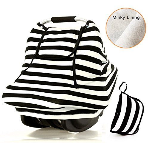 Stretchy Baby Car Seat Covers For Boys Girls,Winter Infant Car Canopy,Snug Warm Breathable Windproof, Adjustable Peep Window,Insect free,Universal Fit,Black White Stripe-Patented Design (Baby Mesh Car Seat Cover compare prices)