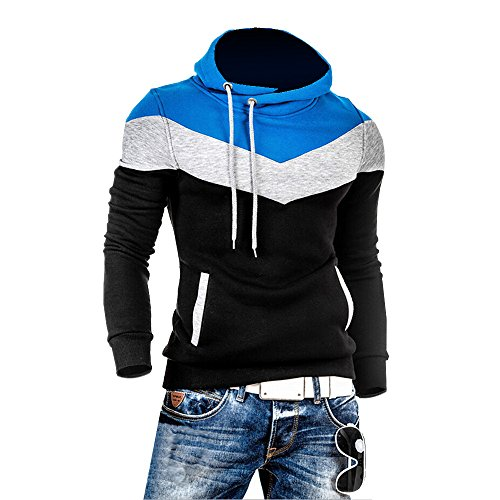 Summer River Mens Novelty Color Block Hoodies Cozy Sport Autumn Outwear SW002 (Medium, Black)