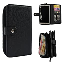 Galaxy Note 4 Case, Seedan PU Leather Wallet Zipper Case Detachable Folio Flip Holster Carrying Case with Card Slot Wrist Strap for Samsung Galaxy Note 4 Black