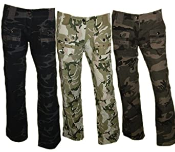 damen cargo army jeans hose camouflage cargohose freizeithose superdark woodland amazon. Black Bedroom Furniture Sets. Home Design Ideas