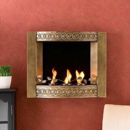 Great Features Of Southern Enterprises Antique Gold Wall Mount Fireplace