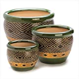 Gifts & Decor Ceramic Jade Garden Planters Flower Plant Pot Set, 3-Piece