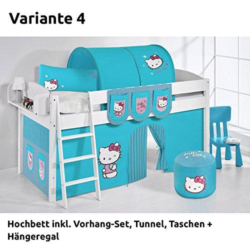 Hochbett Spielbett IDA Hello Kitty Türkis, mit Vorhang, weiß, Variante 4