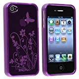 Purple Floral Butterfly Flexible TPU Gel Case for Apple iPhone 4, 4S (AT&T, Verizon, Sprint)