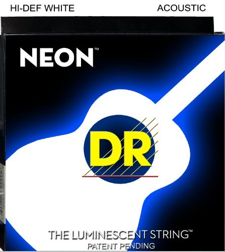 Dr Strings Nwa-10 Dr Neon Acoustic Guitar Strings, Extra Light, White