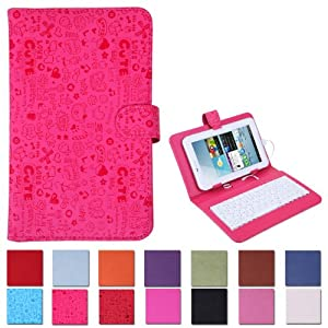 """HDE Hard Leather Folding Folio Case Cover with Keyboard for 7"""" Tablet (Pink Cartoon)"""