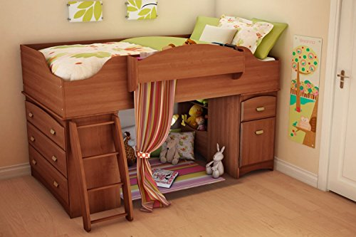 South Shore Imagine Low Loft Bed -, Morgan Cherry, Wood, Twin Loft Bed front-851497