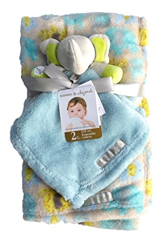 Blankets & Beyond Grey Elephant w/ Big Lime Green Ears 2 Piece Blanket Gift Set Baby Blanket & Security Blanket - 1