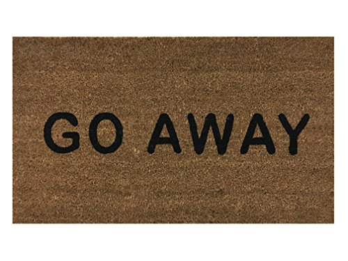 """Go Away"" Doormat By Castle Mats, Size 18 X 30 Inches, Non-Slip, Durable, Made Using Odor-Free Natural Fibers"