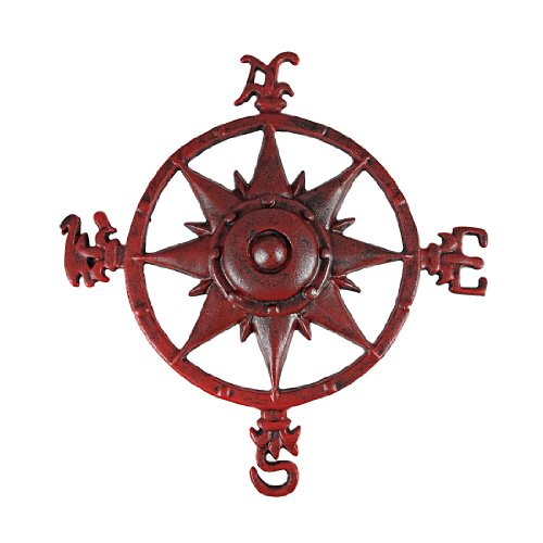 Distressed Finish Red Enamel Compass Rose Wall Hanging front-980660