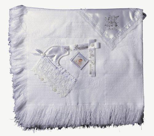 White Cotton Christening Baptism Blanket Set - 1