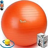 Exercise Ball - LuxFit Premium EXTRA THICK Yoga Ball '2 Year Warranty' - Swiss Ball Includes Foot Pump. Anti-Burst - Slip Resistant! 45cm - 55cm - 65cm - 75cm - 85cm Size Fitness Balls (Orange - 65cm)