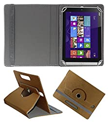 Acm Designer Rotating 360° Leather Flip Case For Acer Iconia W3-810 Tablet Stand Premium Cover Golden
