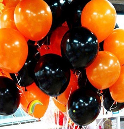 ハロウィン 風船 バルーン セット 【 ひも 付 】 (10個(オレンジ5個+ブラック5個))