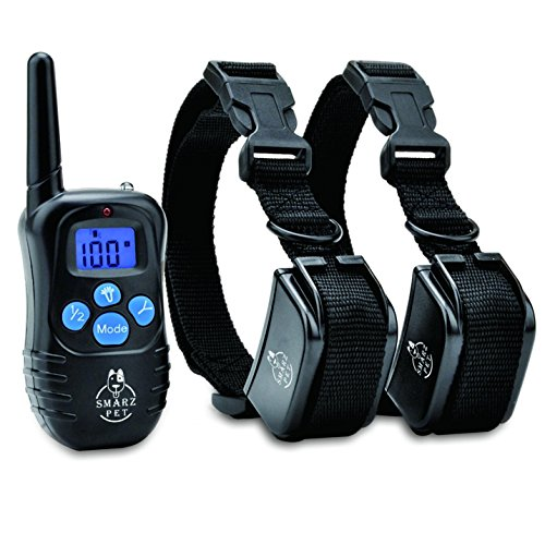 SMARZ PET LCD IP45 Waterproof and Rechargeable Remote Dog Training Collar with 100 levels of Beep, Vibration and Shock Electronic Collar 1 for 2