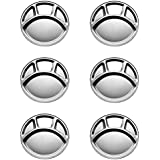 ROYAL SHAPPIRE Stainless Steel Thali/Divider/Multi Bhojan Thal With 4 Section In Set Of 6 With Best Quality