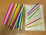 "50 x 150mm (6"") Mixed Colour Plastic Cake Pop Lollipop Kit By Carlton Paper Sticks Included Cello Bags & Mixed Colour Twist Ties"