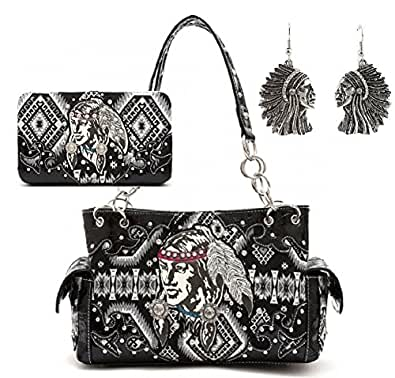 Concealed Carry Indian Costume Western Shoulder Bag Handbag Purse With Matching Wallet & Earring