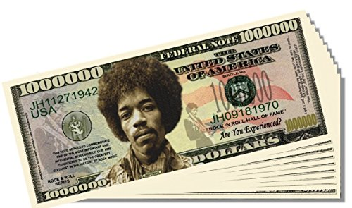 Jimi Hendrix Novelty Million Dollar Bill - 25 Count with Bonus Clear Protector & Christopher Columbus Bill