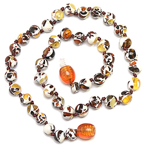 Hand Made Baby Teething Necklace with Amber - Safety Knotted