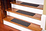Dean Affordable Non-Skid DIY Peel & Stick Carpet Stair Treads - Color: Brown Ripple - Set of 13