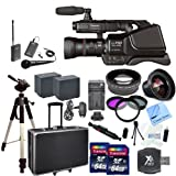 Panasonic AG-AC8PJ AVCCAM HD Shoulder-Mount Camcorder With CS Interview/Documentary Kit: Includes Wireless Lapel & Handheld Microphone, 2 Replacement Battery Packs, Rapid Charger, Full Size Tripod, Hard Carrying Case With Wheels & Retractable Handle, 2 64GB SDXC Memory Cards, SD Card Reader, High Definition Wide Angle Lens, 2x Telephoto HD Lens, 3 Piece Filter Kit, Lens Pen, Cleaning Kit, LCD Screen Protectors & CS Microfiber Cleaning Cloth