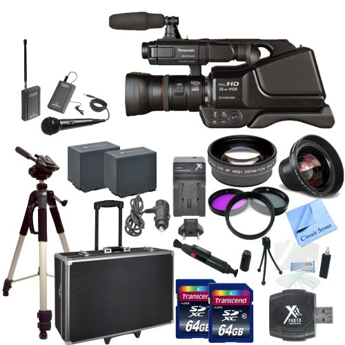 Panasonic Ag-Ac8Pj Avccam Hd Shoulder-Mount Camcorder With Cs Interview/Documentary Kit: Includes Wireless Lapel & Handheld Microphone, 2 Replacement Battery Packs, Rapid Charger, Full Size Tripod, Hard Carrying Case With Wheels & Retractable Handle, 2 64