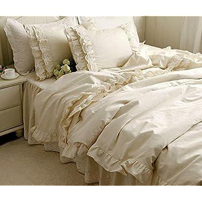 寝具カバーセット 【優雅なシフォンレース!】綿100%クリーム色寝具カバーセット (シングル)