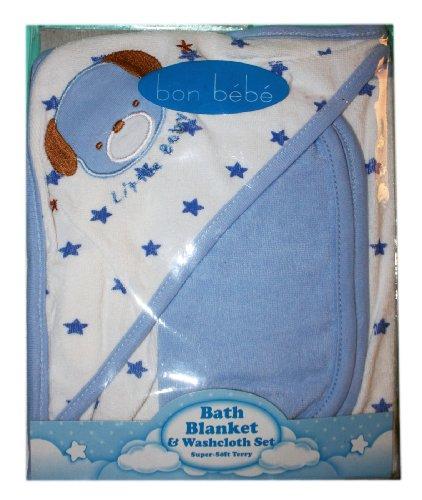 Bon Bebe Baby Bath Blanket & Washcloth Set Pink - 1
