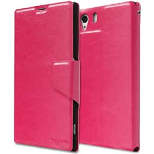 GreatShield SHIFT LX Leather Wallet Case with Card Slots for Sony Xperia Z1 (Pink)